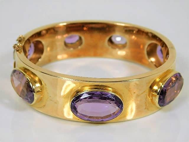 Victorian 9ct gold & amethyst bangle SOLD £780