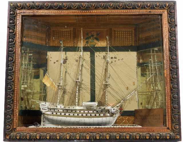 c.1810 French POW bone model ship within period straw work box