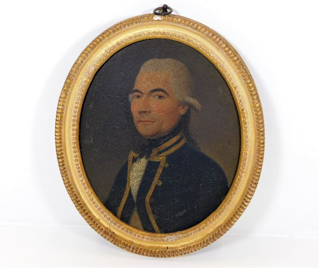 Small 18thC. oil on panel of Royal Navy Captain Ellis SOLD £5150