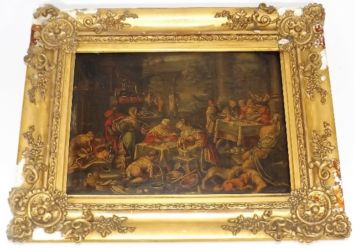 Dutch interior oil on oak panel with faults £940