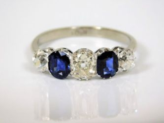 18ct gold 1ct diamond & sapphire ring sold £1260